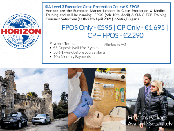 Horizon & PrepYou.Eu Executive Close Protection Training in Sofia Bulgaria